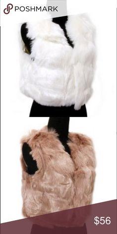 Faux Fur Short Vest Short white faux fur vest. Acrylic. 43cm long Jackets & Coats Vests