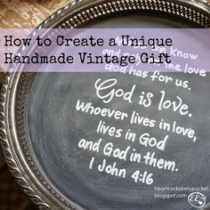 How to Create a Unique Handmade Vintage Gift using a vintage silver tray, chalkboard paint and a white paint pen.