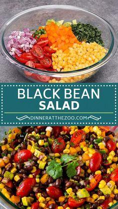Bean Salad Recipes, Healthy Salad Recipes, Lunch Recipes, Mexican Food Recipes, Diet Recipes, Vegetarian Recipes, Cooking Recipes, Vegetarian Salad, Mayo Pasta Salad Recipes