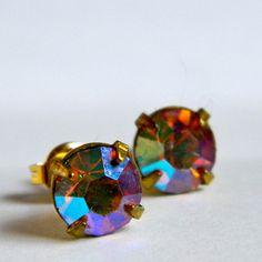 vintage AB stud earrings