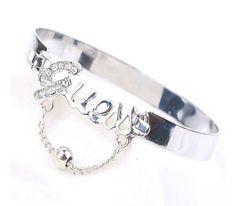 Bracelet de diamant la mode Brillant strass Lettres Gem: Amazon.fr: Bijoux