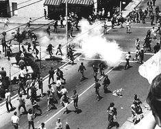 People's Park, Berkeley, 1969. Photo: Kathryn Bigelow. Teargas dispersal of the crowd at Dwight Way and Telegraph a few minutes before the Alameda County deputies came down the street with their shotguns.