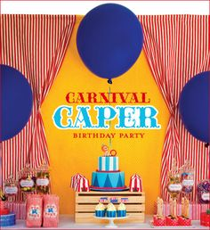 """kids carnival birthday party - Bing Images that room! carnival party by iheartglamparties """"Carnival Caper"""" birthday party Circus Carnival Party, Fall Carnival, Carnival Birthday Parties, Carnival Themes, Circus Birthday, Birthday Party Themes, Birthday Ideas, Vintage Carnival, Circus Theme"""