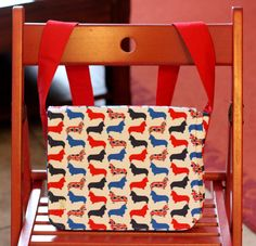 Small messenger style bag made with adorable Union Jack Corgi design by PuppyPawzBoutique on Etsy