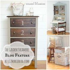 The Golden Sycamore blog feature at lizmarieblog.com- Great DIY blog with awesome furniture makeovers a must see!