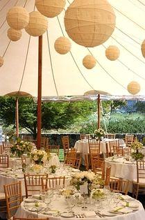 Lanterns under the tent.