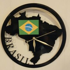 """Brasil Brazil Clock Art Made From A Real 12"""" Record Album"""