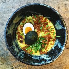 New congee idea... Curried smoked haddock seaweed egg curried scraps & coriander. by dandoherty_