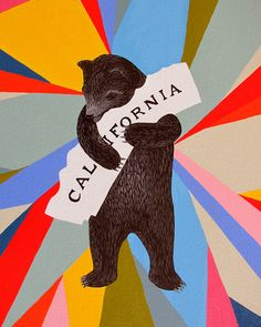 """One of my all time fav from SF's 3 Fish Studios, a collaborator on my last event, Mix It Up!, in Dogpatch. ♥ this place and this print by Annie Galvin: """"I Love You California"""""""