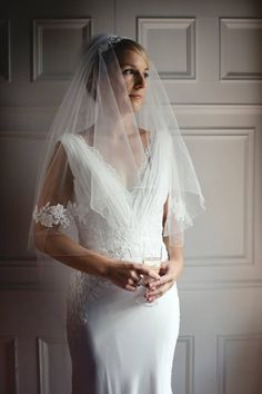 """We have a few more real bride pics for you today! Katy opted for a bespoke two layer chapel length veil in our """"Light Ivory"""" shade with a pencil finsh and lace applique panels at elbow height. Stunning! Here's what Katy had to say: """"Just wanted to say a big thank you for my bespoke veil. The lace you picked out went really well with the lace detail on my dress - like they were made for each other. """""""