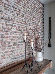 A real brick wall , Painted Brick Walls, Brick Accent Walls, Faux Brick Walls, Faux Brick Wall Panels, Brick Wall Decor, Brick Interior, Interior Work, Wall Design, House Design