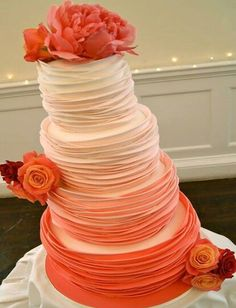 Brilliant Orange Wedding Cake Design, seems to be leaning but perhaps it's the angle of the photo?
