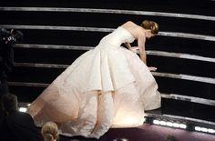 How beautiful people fall.      Jennifer Lawrence, you are my hero.