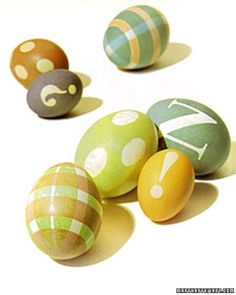 Stenciled Eggs — With stencils made of waterproof vinyl adhesive tape and cut-out shapes, you can create perfectly rendered patterns on your Easter eggs. Make plaid, polka-dotted, punctuated, or monogrammed eggs, or create your own designs.