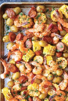 Sheet Pan Shrimp Boil - Easiest shrimp boil ever! And it& mess-free using a., recipes, Sheet Pan Shrimp Boil - Easiest shrimp boil ever! And it& mess-free using a single sheet pan. ONE PAN. No newspapers. No bags. Fish Recipes, New Recipes, Cooking Recipes, Healthy Recipes, Easy Shrimp Recipes, Shrimp Dinner Recipes, Meals With Shrimp, Grilled Shrimp Recipes, Tilapia Recipes