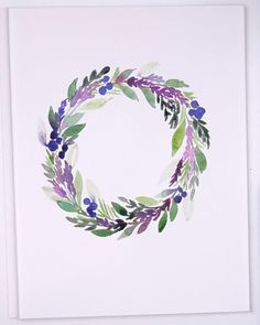 Learn how to paint this simple watercolor Lavender wreath for beginners with Erin of Snowberry Design Co. This wreath tutorial is simple and easy for beginners. paintings videos Easy Watercolor Lavender Wreath for Beginners Watercolor Flower Wreath, Watercolor Flowers Tutorial, Watercolour Tutorials, Floral Watercolor, Flower Art, Simple Watercolor Flowers, Simple Flowers, Painting Tutorials, Watercolor Beginner