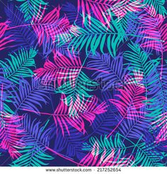 Tropical palm leaf pattern neon colored. - stock vector