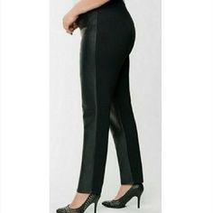 Lane Bryant Pants & Jumpsuits | Lane Bryant Black Front Faux Leather Pants 24 | Poshmark Faux Leather Pants, Lane Bryant, Pant Jumpsuit, Jumpsuits, Capri Pants, Pajama Pants, Spandex, Skinny, Cotton
