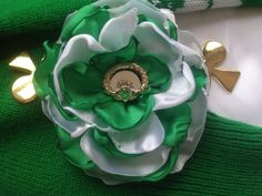 Green and White Satin Floral with Various by ChristyHairCreations