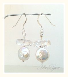 Silver Earrings – Silver Earrings, Swarovski Crystal Earring, Pearl  – a unique product by ArtBijou on DaWanda