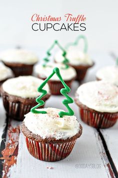 Delicious Christmas Truffle Cupcakes made with milk chocolate Lindor truffles!