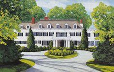 new york mansions | Barbara Thomas Art- House and Garden Paintings