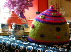 Easy pattern and a good way to use up some wool yarn leftovers-as this is felted of course!