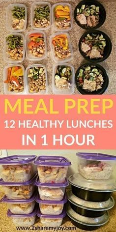Meal Prep: 12 healthy lunches in 1 hour. Make these healthy clean eating meal pr. - Meal Prep: 12 healthy lunches in 1 hour. Make these healthy clean eating meal prep recipes in 1 hou - Easy Meal Prep, Healthy Meal Prep, Healthy Drinks, Easy Meals, Healthy Lunches, Nutrition Drinks, Freezable Meal Prep, Fitness Meal Prep, Nutrition Store