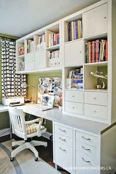 Well-organized home office with IKEA shelving