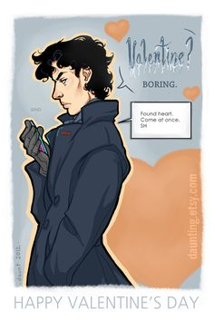"Sherlock & John Valentine's Cards on my Etsy ""Valentine? BORING."" I made some. :)  I will also do a give away closer t..."