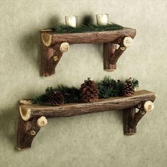 Timber Log Wall Shelf from Touch of Class. These are resin, but real log shelves would be cool. Love the idea.Rustic Timber Log Wall Shelf from Touch of Class. These are resin, but real log shelves would be cool. Love the idea. Rustic Walls, Rustic Wood, Rustic Decor, Rustic Outdoor, Rustic Bedrooms, Woodsy Bedroom, Decor Western, Indoor Outdoor, Timber Logs