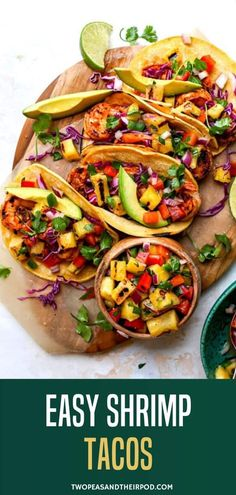 Shrimp Tacos with Grilled Pineapple Salsa will make you feel like you're on vacation somewhere exotic. These simple and flavorful tacos are a summertime Taco Tuesday favorite! Healthy Shrimp Tacos, Grilled Shrimp Tacos, Shrimp Taco Recipes, Mexican Food Recipes, Healthy Recipes, Ethnic Recipes, Mexican Dishes, Healthy Dinners, Easy Recipes