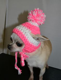 Crochet  toboggan Hot Pink White by PokeyPuppyCollection on Etsy, $10.00