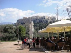 Athens, Thisseion, drinking greek   coffee under the Parthenon