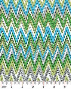 Half Yard Down Under - Fun Stripe Aqua/Green - Cotton Quilt Fabric - by Kanvas - Benartex, $5.25