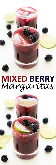 Colorful Mixed Berry Margaritas. Loaded with fresh blueberries, cherries and blackberries. A fun twist on the original! | chefsavvy.com #recipe #drink #cocktail #margarita #berry
