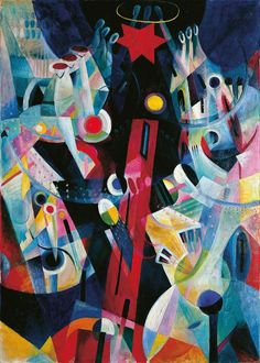 The School of Bauhaus/ Johannes Itten - The Red Tower (Der rote Turm), Oil on canvas Museum moderner Kunst Stiftung Ludwig (MUMOK), Vienna, Austria Kandinsky, Johannes Itten, Abstract Art Images, Bauhaus Art, Collaborative Art, Ap Art, Museum, Contemporary Paintings, Painting Inspiration