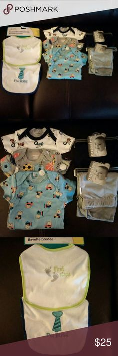 """Newborn Baby Bundle NWT and NWOT items. All received as gift but never used. I can see as a whole bundle or I am also willing to sell separately; please just leave a comment if you would like to split up the bundle.  3 Onesies - White, size Newborn, with motorcycle print - Gray, size Newborn, with sport print - Pale Blue, size 0-3 months, with traveling money print  2 Pants - Navy pants, size 0-3 months - Gray pants, size Newborn  2 Bibs, brand Angel of Mine - White/Lime Green """"First Steps""""…"""