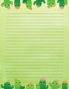 Free printable cute cactus stationery for x 11 paper. Available in JPG or PDF format and in lined and unlined versions. Printable Lined Paper, Free Printable Stationery, Printable Letters, Free Printables, Digital Paper Free, Stationery Paper, Note Paper, Writing Paper, Planner