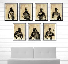 Justice League Watercolor Style Poster Set / Superman, Batman, Wonder Woman etc. #Minimalism
