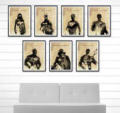 Justice League Watercolor Style Poster Set / Superman, Batman, Wonder Woman etc. #Minimalism