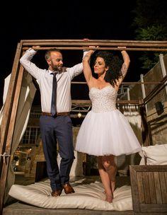 """Κοντά νυφικά : """" d.sign by Dimitris Katselis """" real bride . Κοντό νυφικό με τούλινη φούστα και κεντημένο μπούστο με πέρλες. The Selection, Bridal, Lady, Bride, Brides, The Bride"""