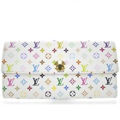This is an Authentic Louis Vuitton Multicolor Sarah Wallet in White.   This wallet is made for bills and change.
