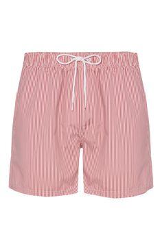 Pink Pinstripe Swim Shorts
