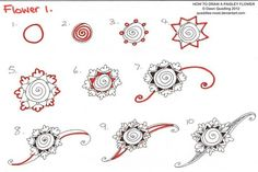 Cool Zentangle Patterns | How to draw Paisley Flower 01 by *Quaddles-Roost on deviantART