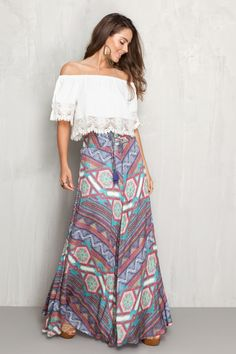 saia longa estampa gypsy | Dress to