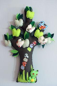 TREE WITH GREEN APPLES, made of fabric Apples, Dinosaur Stuffed Animal, Wall Decor, Decoration, Toys, Green, Fabric, Animals, Wall Hanging Decor