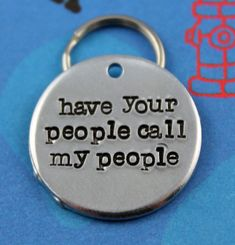 Handstamped Aluminum Pet ID Tag - Personalized Unique Dog Name Tag - Customized - Have Your People Call My People