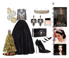 """""""13 décembre 2015: Magnificence"""" by l-bourdon ❤ liked on Polyvore featuring Naeem Khan, Alessandra Rich, Casadei, Noir, Lulu Frost, Kane, East of India, General Foam and Givenchy"""