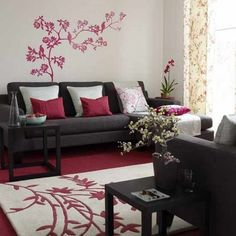 red, black and white living room!